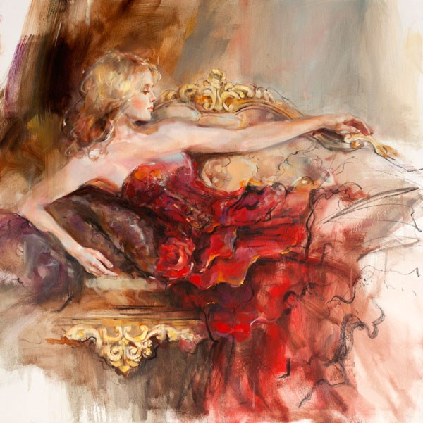 English Rose by Anna Razumovskaya - Hand Finished Limited Edition on Canvas sized 24x24 inches. Available from Whitewall Galleries